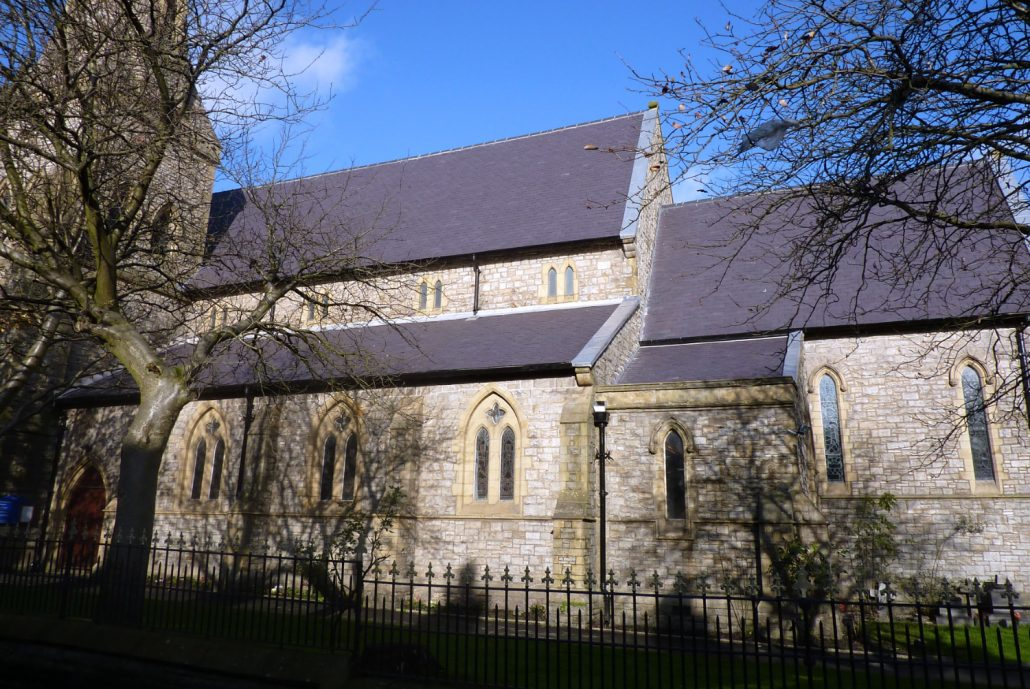 re-slating roof, st james church, shaw, english heritage, conservation