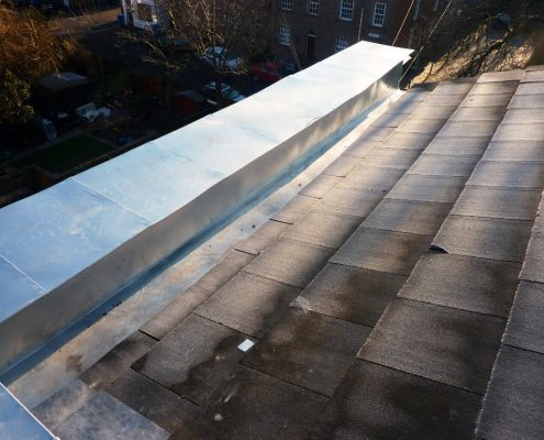 Stainless steel gutters, lead replacement, roof of the Polish Club, Chorley, Lancashire