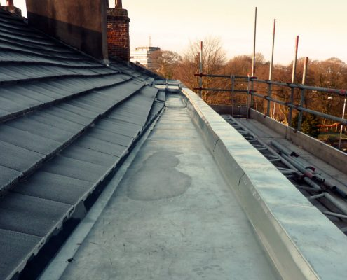 Lead alternative, stainless steel gutters replacement, roof, Polish Club, Chorley, Lancashire