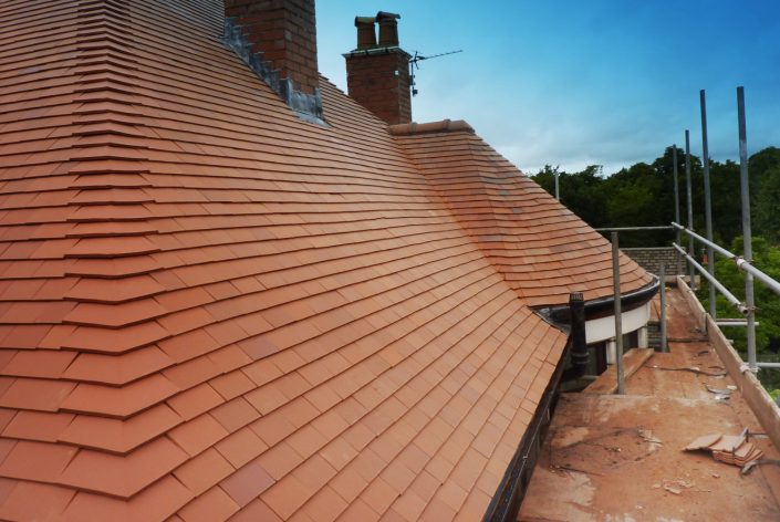 roofing, re-tiling roof, red clay tiles, house, haydock slating, lancashire, north west